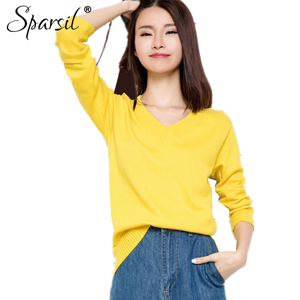 Sparsil Women's Autumn&Winter Cashmere Blend Knitted <font><b>V-Neck</b></font> Pullover Female Casual Style <font><b>Rib</b></font> Cuff Knitwear <font><b>Sweater</b></font> All-Match