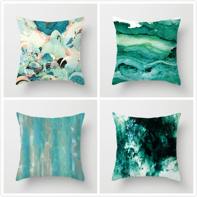 Fuwatacchi Color Paint Pillow Cover Ink Painting Cushion for Car Sofa Home Decorative Pillows 2019