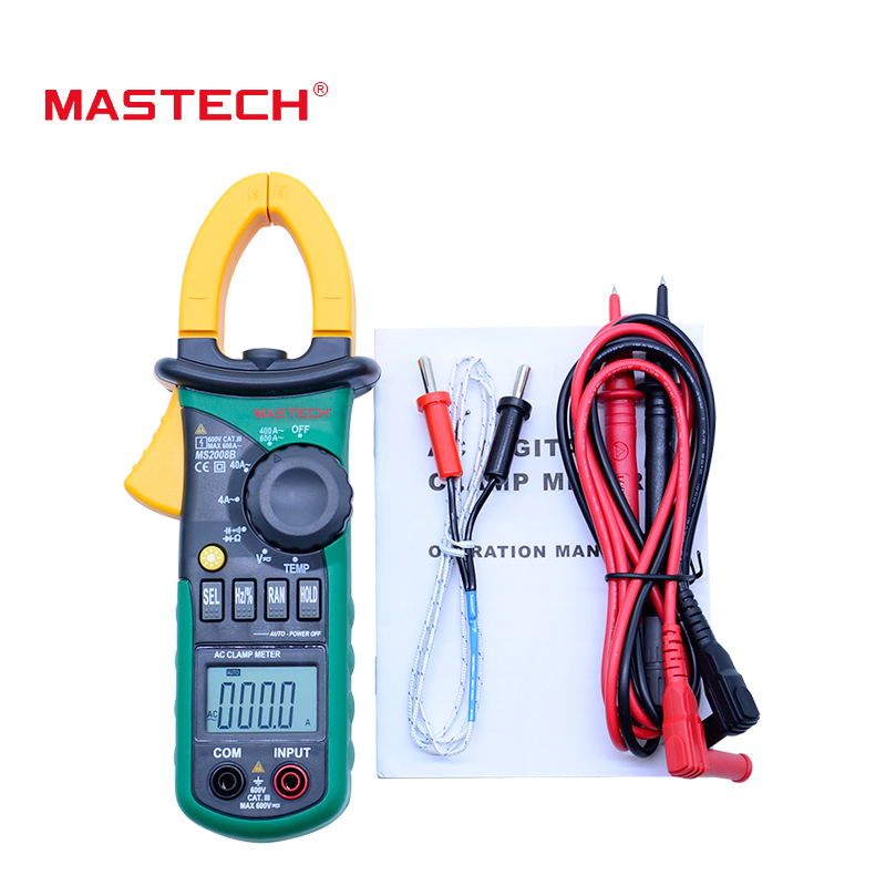 MASTECH MS2008B Digital Multimeter Amper Clamp Meter Current Clamp Pincers AC Current AC/DC Voltage Capacitor Resistance Tester auto digital clamp meter mastech ms2108a pincers ac dc current voltage capacitor resistance tester aimometer multimeter amper