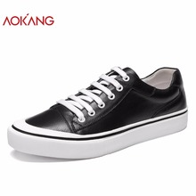 AOKANG 2018 Autumn men casual shoes genuine cow leather shoes men students Low top Black Shoes fashion brand male leisure shoes