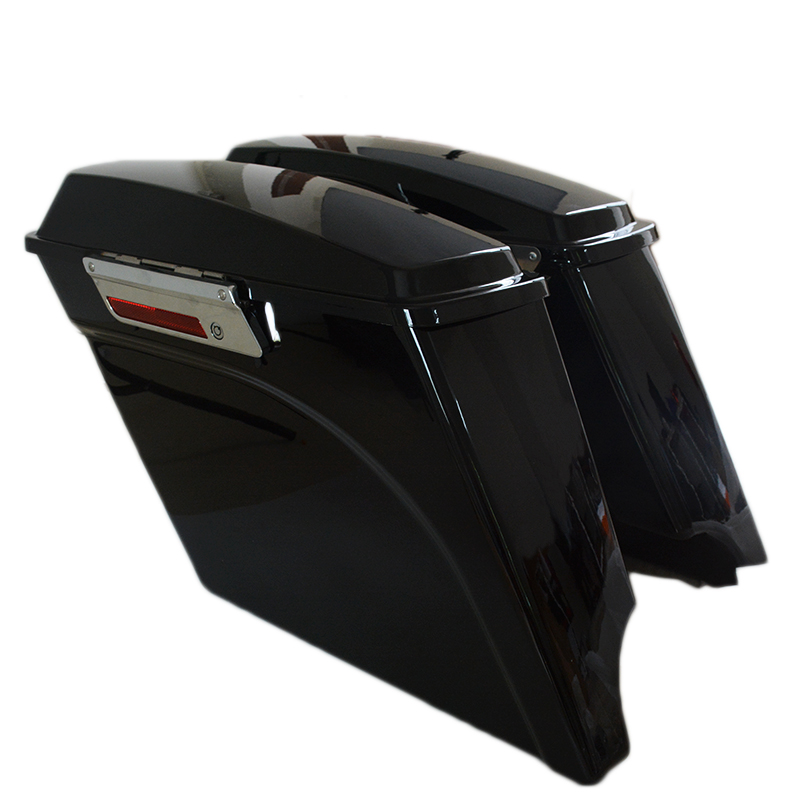 Vivid Black 5 Stretched  Extended Hard Saddlebags Trunk for Harley Davidson Saddle Bags Extended Saddlebags 93-2013 bjmoto 2x motorbike saddlebags pu leather swingarm bag saddle bags side tool bags storage for harley sportster
