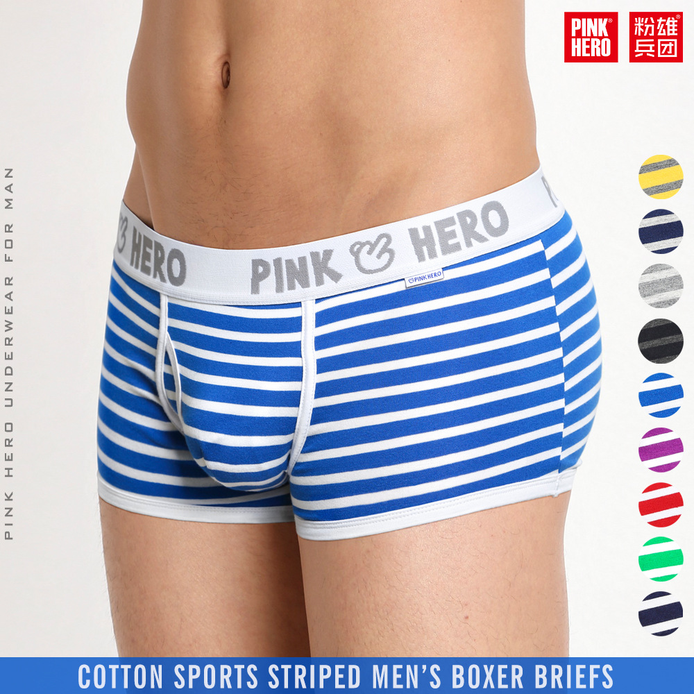 5PC Pink Heroes High-Quality Cotton Underwear Men Boxer Shorts Classic Striped Male Underpants U Convex Pouch