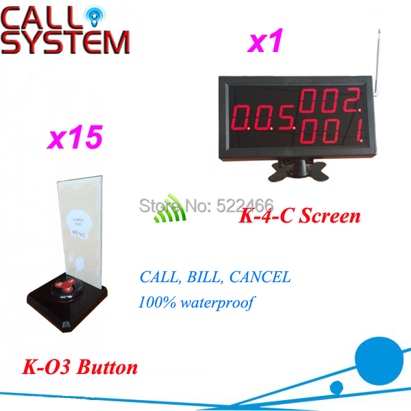 New Customer Call Button System for restaurant cafe hotel, with 15 call button and 1 display, shipping free new customer call button system for restaurant cafe hotel with 15 call button and 1 display shipping free
