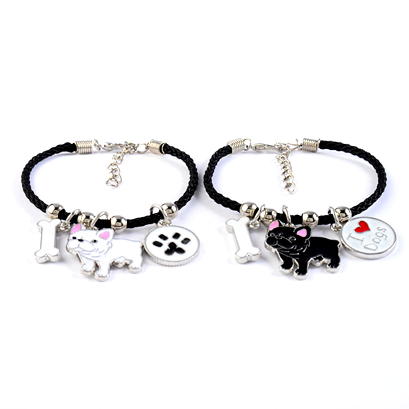 French Bulldog Charm Bracelets Bangles Women Girls Silver Color Dog Pendant Rope Chain Female Wrap Bracelet Jewelry Bijoux Femme 2