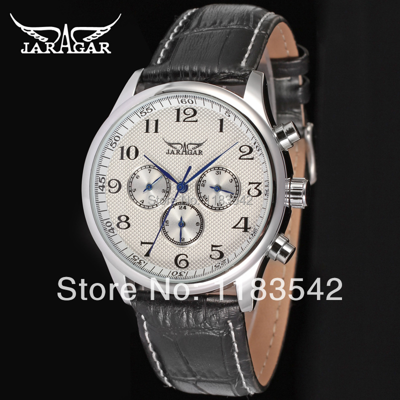 Jargar   new men Automatic  fashion dress wristwatch silver  color with black leather band JAG6458M3S1 jargar jag6906m3s2 new men automatic fashion dress watch silver color wristwatch with black leather band free shipping