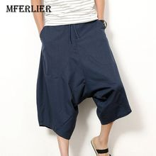 MFERLIER men pant casual 4XL 5XL weight 50 115cm cotton linen Harem Pants men 3 colors