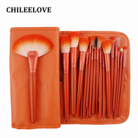 CHILEELOVE 24 Pcs/Set Orange Professional Makeup Brushes Kit with Collection Bag For Facial Nose Eye Beauty Cosmetic Tool