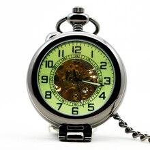913 New Fashion Analog Men Watch Mechanical Pocket Watch With Necklace Chain Steampunk Hand Wind Watch