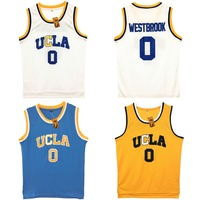 VTURE Mens Russell Westbrook 0 UCLA Bruins Blue Stitched Basketball Jersey