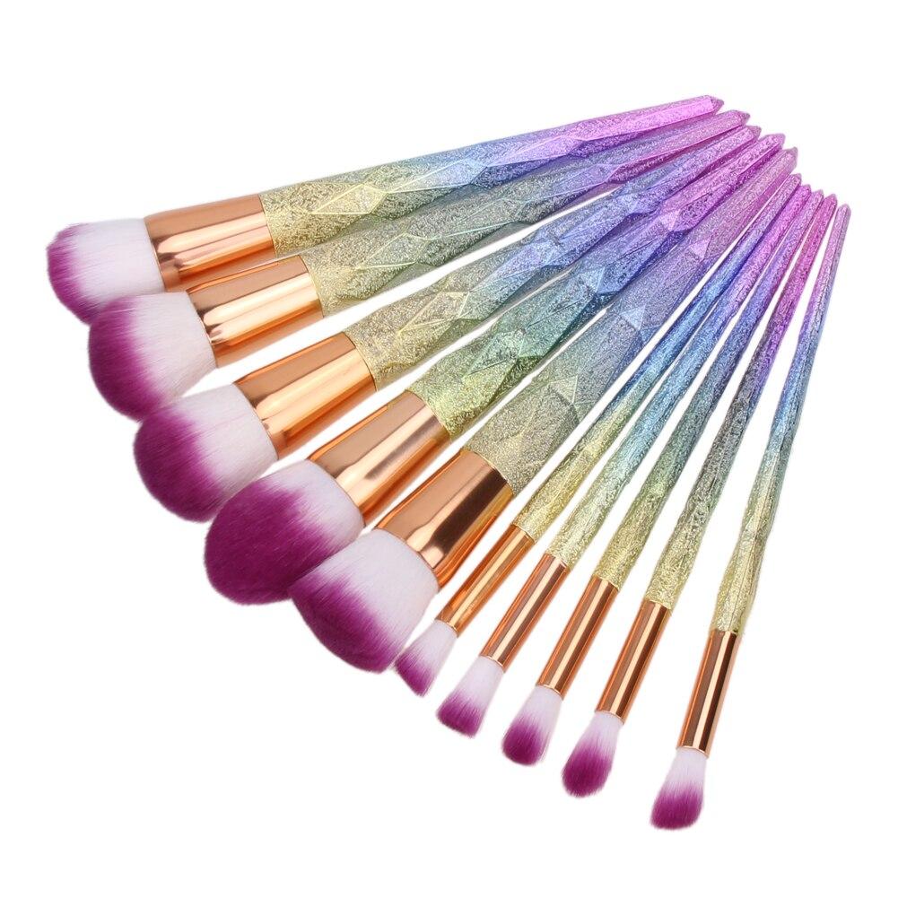 10Pcs 3D Colorful Makeup Brushes Set Professional Face Powder Foundation Eyeshadow Blush Eyebrow Brushes Cosmetic Tool Kits