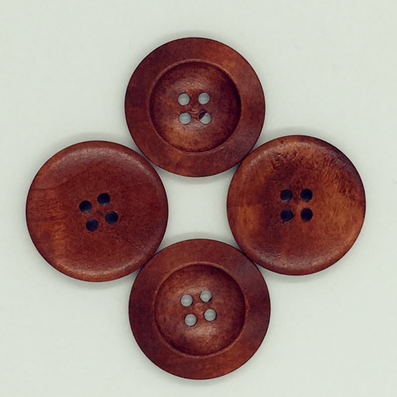 25PCS New Brown Round Wooden Buttons 4-Holes 30MM Diameter Natural Color Button For Coat Scrapbooking Sewing DIY High Quality