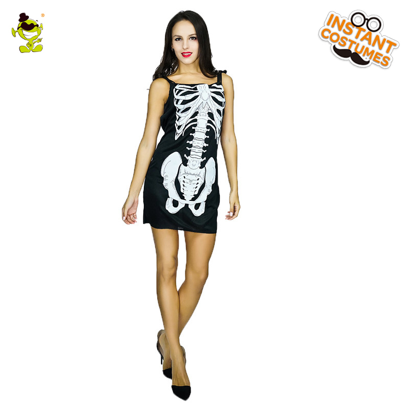 New Design Elegant Skeleton Lady Costumes Adult Halloween Party Skull Printed Dress Women Black Sexy Skullman Role Play Dress