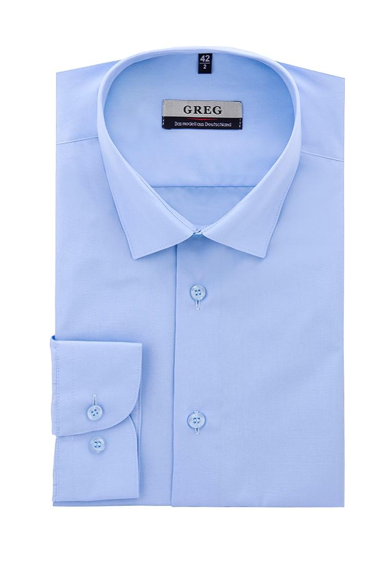Shirt men's long sleeve GREG 220/139/NBL/ZV Blue plus size bird and floral print v neck long sleeve t shirt