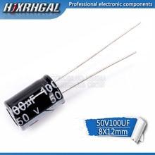 50 pces higt qualidade 50v100uf 8*12mm 100 uf 50 v 8*12 capacitor eletrolítico hjxrhgal