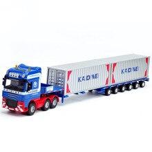 Моделирование 1: 50 Телескопический плоский контейнер транспортер модель, инженерные строительные транспортные средства, литье под давлением игрушки