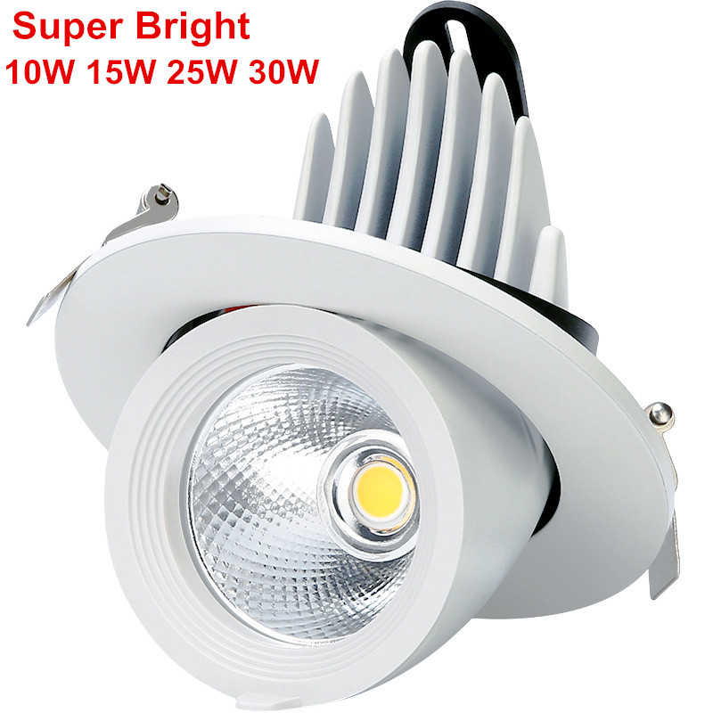 Super Bright 10W 15W 25W 30W  LED Trunk Light Gimbal Light Adjustable COB Gimable Rotation Recessed Ceiling Downlight AC85-265VSuper Bright 10W 15W 25W 30W  LED Trunk Light Gimbal Light Adjustable COB Gimable Rotation Recessed Ceiling Downlight AC85-265V
