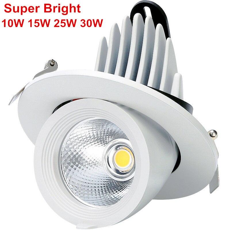 Super brillante 10 W 15 W 25 W 30 W LED luz del maletero luz Gimbal ajustable COB rotación empotrable techo Downlight AC85-265V