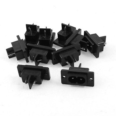 10 Pcs Black 2 Pins IEC320 C8 AC Power Socket Connector AC 250V 6A 5pcs iec320 c8 black 2 terminal power plug inlet socket ac 250v 2 5a
