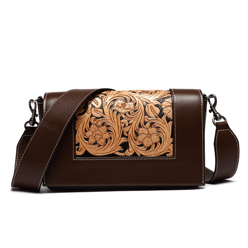 2017 new arrival hand carved Italian vegetable tanned leather crossbody bags for women hand carved italian vegetable tanned cowhide fashion leather bags handbags women