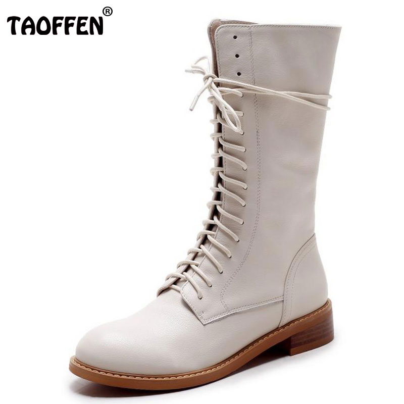 TAOFFEN Winter Women Boots Genuine Leather Round Toe Lace Up Half Boots Ladies Flat Botas Mujer Boots Women Shoes Size 34-39 khaki winter boots women flat heels round toe ladies boots shoes women botas altas mujer female winter boots with plush