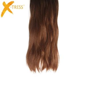 Image 4 - Tissages synthétiques doux ondulés X TRESS naturels, mèches noires et brunes ombré, lot de 6 Extensions capillaires à coudre, 14 à 20 pouces pour tête complète