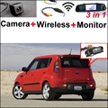 3 in1 Special Rear View Camera + Wireless Receiver + Mirror Monitor Parking System For Kia Soul 2009~2011