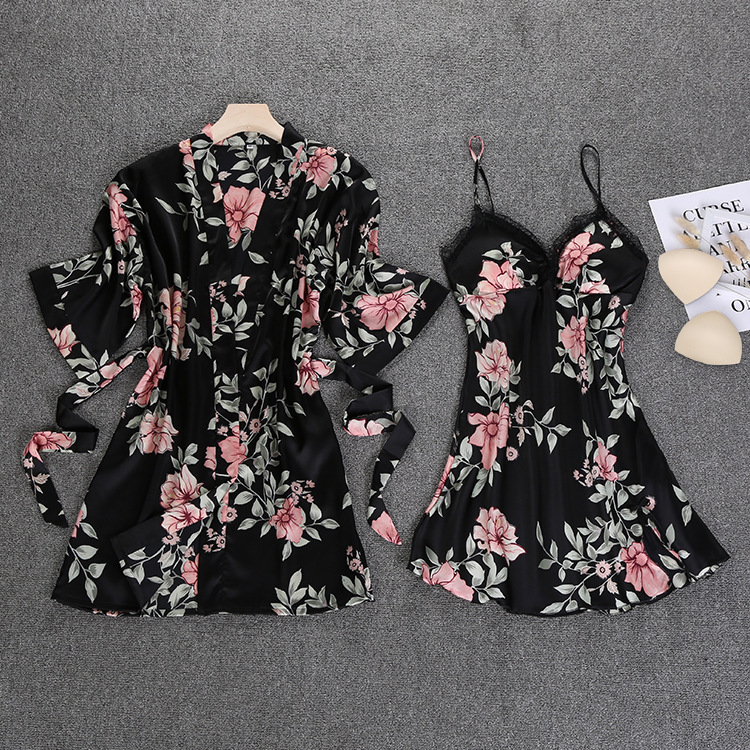 Black Spring NEW Womens 2pcs Robe Suit Sleepwear Casual Home Wear Pajamas Sexy Strap Nightwear Sleep Kimono Bath Gown Sets