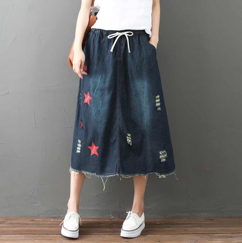 2b87deabfcf66a Harajuku Retro Vintage Ethnic Boho Star Big Size Loose Embroidery Elastic  Waist Jeans Denim Blue Cowboy