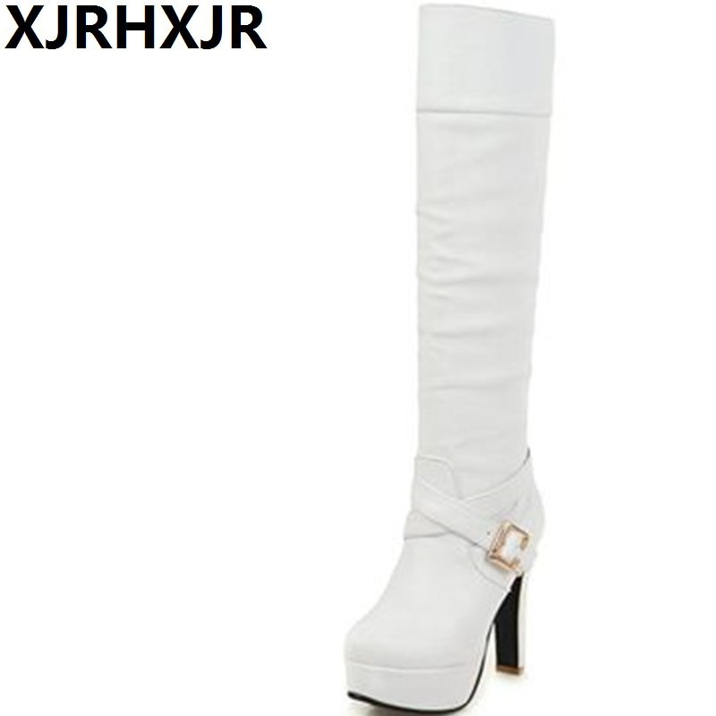 XJRHXJR Winter New Knee High Boots Women High-heeled Thigh Boots Sexy Pumps Female Long Riding Boots for Woman Shoes 33-43