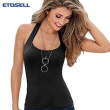 Noir hitam Putih Tanpa Lengan Top Tee wanita Kasual Rompi Atas musim panas  Halter Camis Sexy Wanita Pakaian Tank Tops T-shirt t . ccb78ae449