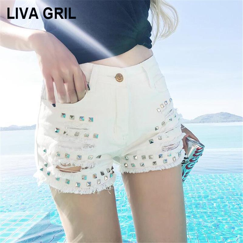 Liva Girl Hot Pants Women Summer High Waist Rivet White Denim Shorts Washed Hole Tassel Vintage Jean Shorts Plus Size Summer