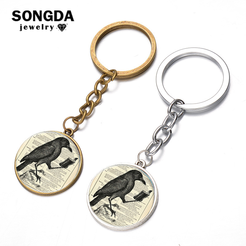 SONGDA Vintage Raven Keychain Gothic Crow Black Bird Art Picture Glass Cabochon Alloy Metal Key Chain Ring Holder Bag Charm Gift
