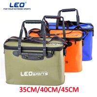 LEO High Quality EVA Folding Fishing Bucket 35CM 40CM 45CM Length Carp Fishing Foldable Bag Outdoor
