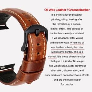 Image 3 - MAIKES pulsera de cuero con cera de aceite para Apple Watch, correa de 42mm, 38mm/44mm, 40mm, Series 4, 3, 2, para Apple Watch, correa de reloj para iWatch