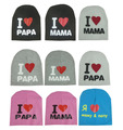 2016 Fashion Autumn Baby Hat Knitted Warm Cotton Toddler Beanie Baby Cap Kids Girl Boy I Love Papa Mama Print Kid Hats