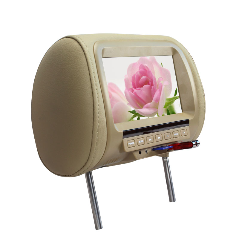 7 inch TFT LED Screen Pillow Monitor General Car Headrest Monitor Beige/Gray/Black AV USB SD MP5 FM Built-in Speaker SH7038-MP5