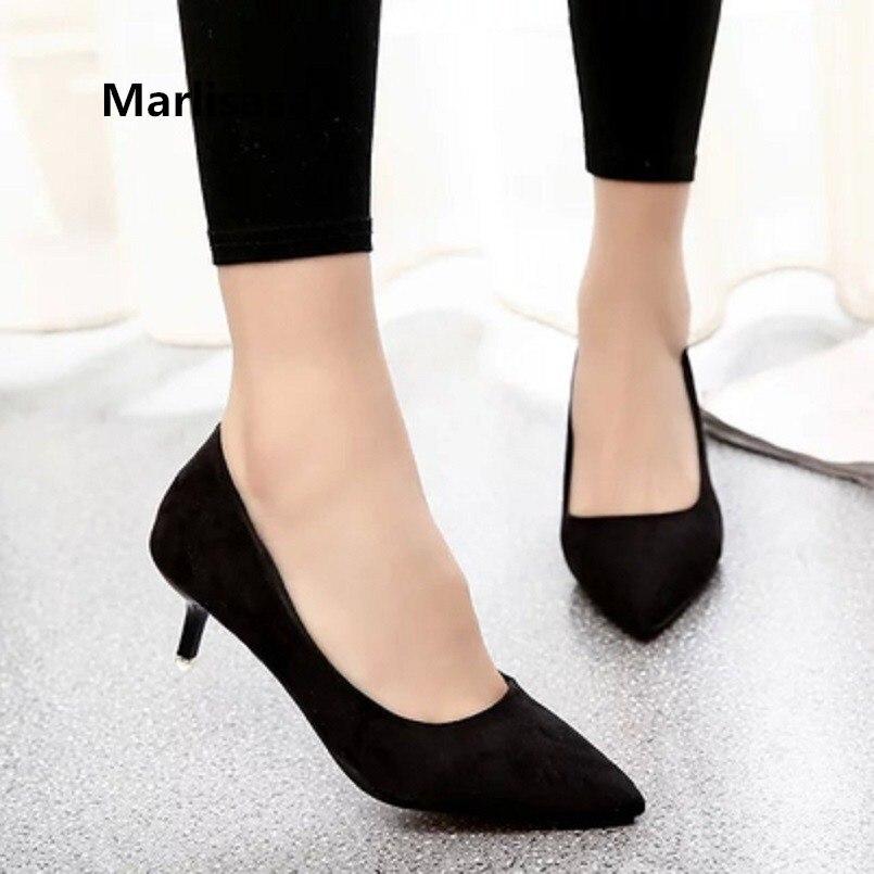 Marlisasa Women Cute Black Comfortable Slip On Office High Heel Shoes Lady Casual Sweet Blue Slip On High Heel Pumps F3210