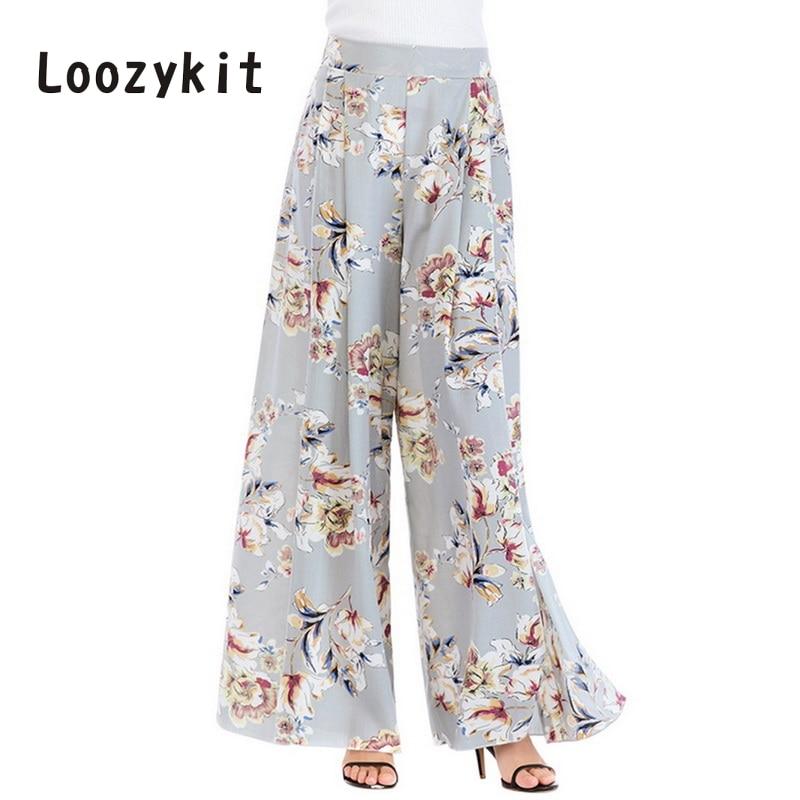 LOOZYKIT 2019 Vintage Floral Printed   Wide     Leg     Pants   Women Summer Elastic Waist Chiffon Trousers Casual Boho Beach Pantalones