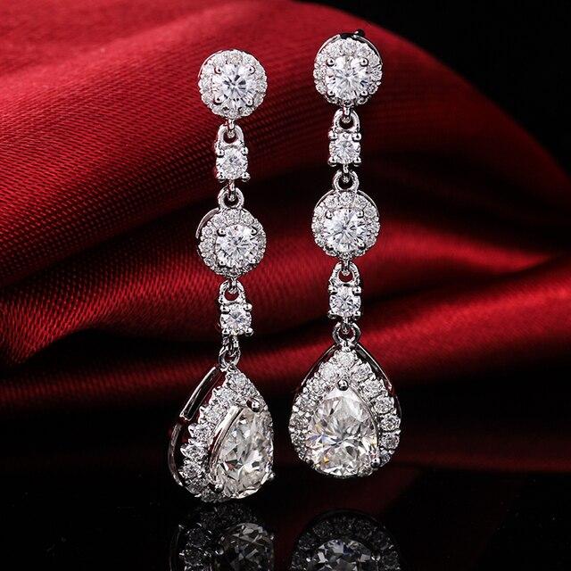 Classic Engagement Party Jewelry 18k White Gold Pear Shape Moissanite Diamond Wedding Long Dangle Earring for Women 6