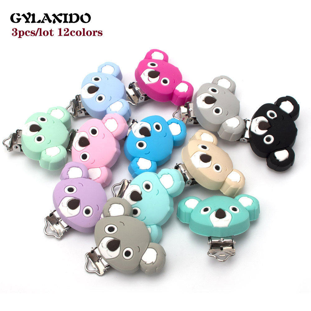 3Pcs Koala Baby Pacifer Clips Perle Silicone Teether Clip DIY Infants Dummy Chain Nipple Holder Soother Food Grade Teething Toys