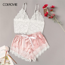 COLROVIE Floral Lace Cami Top With Satin Shorts Lingerie Set Women 2019 Summer Sexy Sets Ladies Bra And Panty Underwear Set(China)