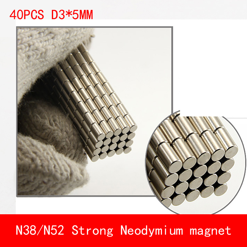 40pcs/lot Super Strong Rare Earth mini 3mm x 5mm Permanet Magnet Round Neodymium N52 N38 3*5MM surface plate nickel