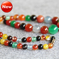 6-14mm multicolor Natural Agate beads Round DIY Jasper Necklace women girls carnelian 18inch Jewelry making design wholesale