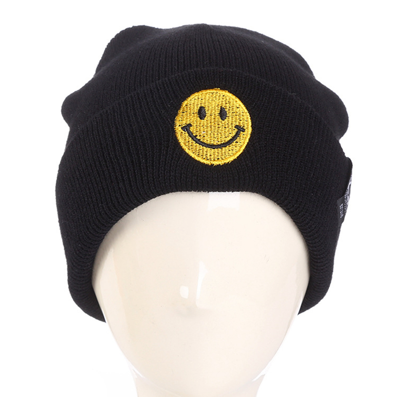 2017 Winter New Design Emoji Cartoon Knitting Wool Hat Women Men Outdoor Warm Hat Skullies Keeping Flanging Cap Hip Hop Hats the new 2016 han edition affixed cloth wave cap hat hat tip to keep warm letter knitting hat qiu dong men and women