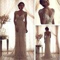 Luxo A Linha V Neck Anna Campbell Casamento Vestidos Lace cristal Frisada Zipper Vestidos de Noiva Com Mangas vestidos de novia 2017