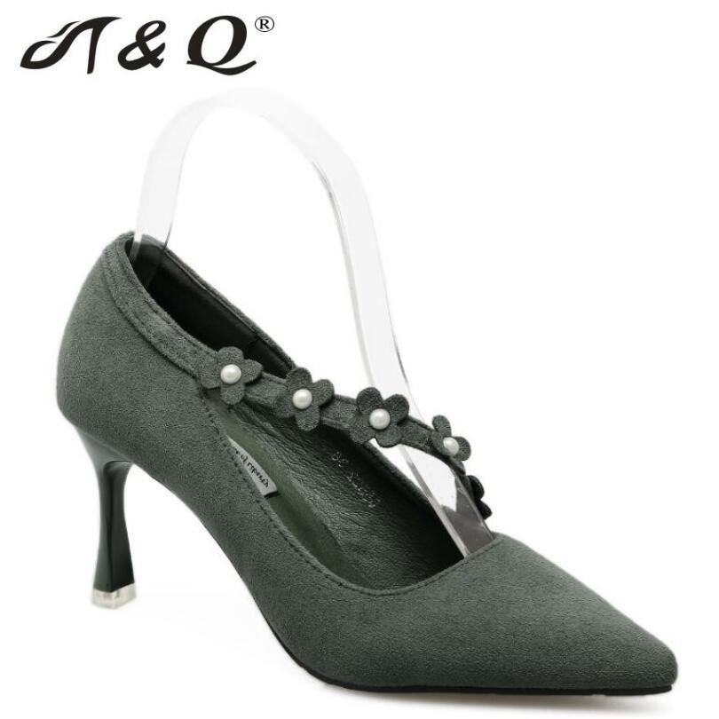 T q 2017 autumn women pumps 8cm fashion sexy high heels shoes pearl pointed toe thin