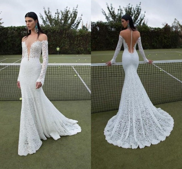 Vestidos De Noiva 2016 Stunning Slim Lace Wedding Dresses With Long Sleeve Dress For