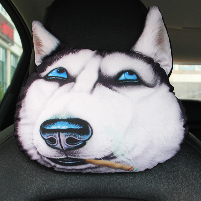 Car Seat Pillow Neck Cushion Cartoon Animals Dog Cat Face Headrest Rest 3D Head Pad Doge Nap Support TZ004 in Neck Pillow from Automobiles Motorcycles