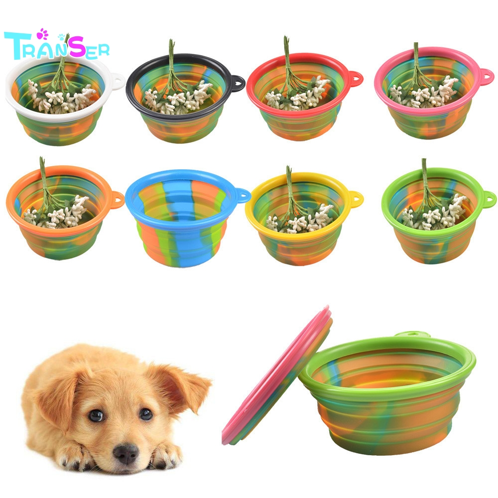 Portable Dog Pet Travel Collapsible Food Water Bowls Pets: Transer Camouflage Pet Silicone Bowl Collapsible Portable