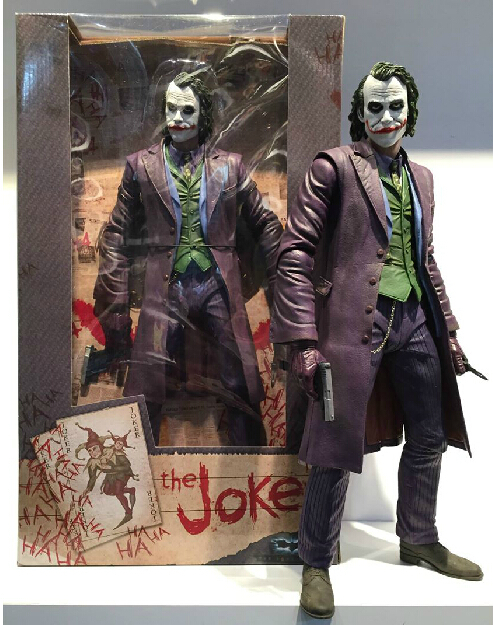 NECA Batman The Dark Knight The Joker 1/4 Scale PVC Action Figure Collectible Toy 16 48CM EMS Free Shipping MVFG240 neca dc comics batman superman the joker pvc action figure collectible toy 7 18cm 3 styles